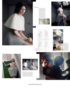 """A set of pages from a book on designers of the future """"ShapeShifters. Shaping Fashion's Silhouettes."""""""