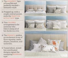 various ways to arrange pillows on the bed.