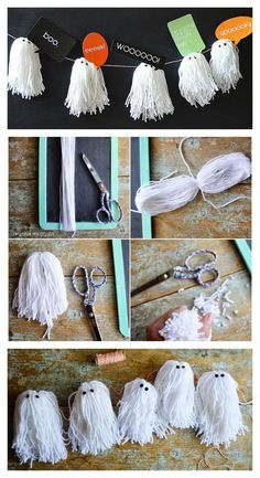 DIY Yarn Ghost Garland | Cute Halloween Decorations