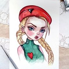 Cammy. Street Fighter. This original watercolor postcard can already be found in my Etsy. Link in profile. #art #watercolor #postcard #cammy #streetfighter #fanart #videogame #cuteart #lowbrow #blackfuryart
