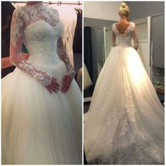 Long Sleeves Wedding Dress,Lace Bridal Dress,V-back Wedding Gowns,Long Sleeves Lace Wedding Dresses,Ball Gown Tulle Bridal Gowns,Long Sleeves V-back Wedding Dresses