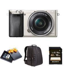 Sony Alpha a6000 Mirrorless Digital Camera with 16-50mm Power Zoom Lens (Silver) Holiday Bundle