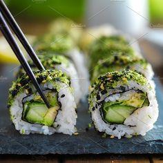 green kale veggie sushi by rezart on @creativemarket