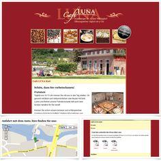 Webvisitenkarte Café Luna / Leistungen: Webdesign, Technische Umsetzung / Techniken: PHP, Javascript, mootools, XHTML, CSS