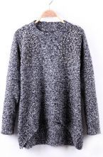 Black and White Fleck Rivet Embellished Crew Neck Sweater $32.26