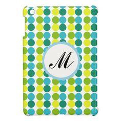 Colorful Dots Custom Monogram iPad Mini case blue