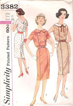 Simplicity 3382  1960s Wiggle Dress Sewing Pattern, by GrandmaMadeWithLove