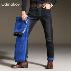 Odinokov Brand Fit -10 Men Winter Thicken Stretch Denim Jeans Warm Blue Thick Fleece Jean Stretch Pants Trousers Size Plus Size