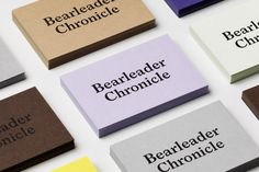 Brightly coloured business cards for publisher Bearleader Chronicle by The Studio, Sweden