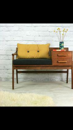 Vintage teak telephone seat - vintage mustard das Casas See Retro Furniture, Home Furniture, Furniture Design, Rustic Furniture, Furniture Ideas, Furniture Chairs, Furniture Stores, Outdoor Furniture, Furniture Upholstery