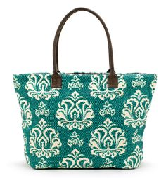 "Large Indian dhurrie tote with damask turquoise print on canvas. Perfect for a summer beach tote.  14""x7""x12"" zipper top closure inside pockets and zipper compa"