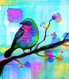 Bird Print  flowers  tree leaves Bird art
