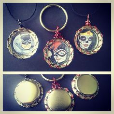 Original art bottle cap key chain OR by TeamSuperAwesomeArt, $6.00