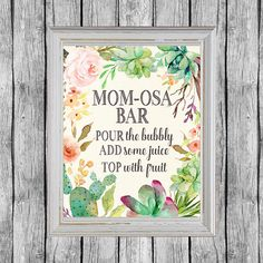 Mom-osa Bar Sign. Momosa Bar Printable. Baby Shower Mimosa