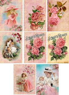 Vintage Inspired Pink Roses Ladies Note Cards Tags ATC Altered Art Set of 8 | eBay