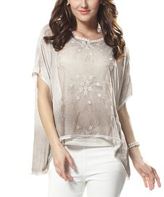 Simply Couture Khaki Abstract Lace-Overlay Dolman Top - Women | zulily