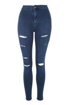 Topshop MOTO Indigo Super Rip Joni Jeans