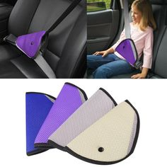 Safely adjust the seat belt to correctly fit children and stop the seat belt going across their neck. 9 different colors to match your cars interior or to please your child: black, red, pink, wine red, purple, blue, beige, grey Material: Nylon + Mesh Size: 25 x 22.5cm