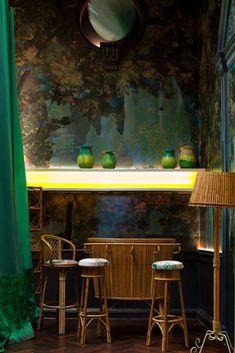 SKETCH styling | mural, wicker, pottery, neon lighting