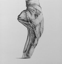 Through destruction to creation - Ballet Shoes. Ink Stippling in Black and White. Click the image, for more art by Rostislaw Tsarenko. Art Drawings Sketches, Cool Drawings, Black Pen Sketches, Sketch A Day, Doodle Sketch, Ink Pen Art, Stippling Art, Wood Carving Art, Dot Work