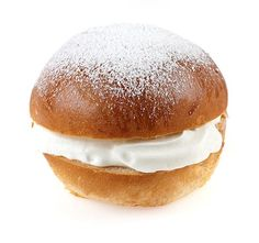 Laskiaispulla: Semla bun/Shrove bun. A bun that includes whipped cream and strawberry jam or whipped cream and almond filling. Laskiaispulla is eaten at Laskiainen which is celebrated seven weeks before Easter in Finland.