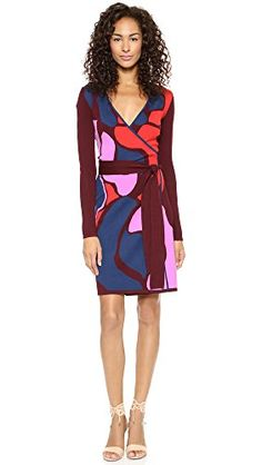 Diane von Furstenberg Womens Linda Wrap Dress Rose Trellis Large Petite ** Find out more about the great product at the image link.