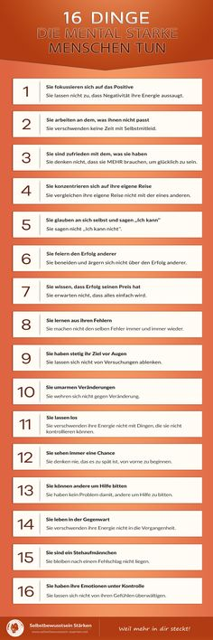 16 Dinge, die mental starke Menschen tun 16 things that mentally strong people do