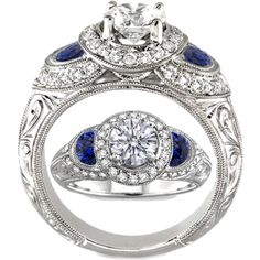 Halo Engagement ring Blue sapphire half moons