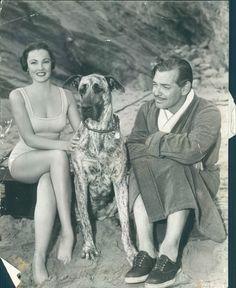 Gene Tierney, with pet dog Argus ?, & Clark Gable. :-)