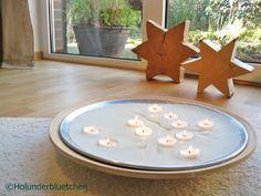 Leuchtschale aus Kerzenresten und Teelichtern