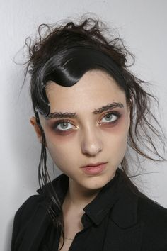Yohji Yamamoto Beauty S/S '15 // makeup inspiration for angel of death costume. sans crazy eyebrows