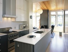 Clean, sleek grey with white    Mid Century Kitchen Design, Pictures, Remodel, Decor and Ideas - page 3