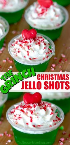 These Grinch Christmas Jello shots will be the hit of the holiday party! much fun! These Grinch Christmas Jello shots will be the hit of the holiday party! These Grinch Christmas Jello shots will be the hit of the holiday party! much fun Christmas Jello Shots, Grinch Christmas Party, Christmas Cocktails, Christmas Snacks, Holiday Cocktails, Christmas Desserts, Holiday Treats, Christmas Baking, Holiday Recipes