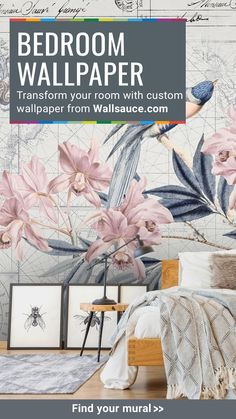 Transform your bedroom with these beautiful wallpapers from custom creators, Wallsauce.com
