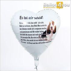 Gedichtballon - Es tut mir leid       Wie oft sagen wir, dass es uns leid tut...? Ein rührendes Gedicht auf einem schwebenden Ballon ist eine einzigartige Idee, mit der Ihre Entschuldigung ganz bestimmt mit einem Lächeln angenommen wird!