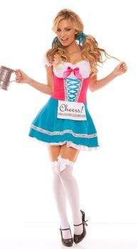 Bavarian Beer Babe German Beer Girl  Wench Maiden Costume WhiteTop Pink Lace Up Bodice Blue Skirt  Ribbon Trim Attached Apron