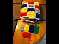 how to crochet lego blanket pattern by AndreaLBaker tutorial haga ganchillo lego - YouTube