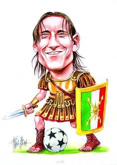 Francesco Totti by Franco Bruna As Roma, Funny Art, Roman, Cartoon, Sport, Fictional Characters, Cars And Trucks, Drawings, Caricatures