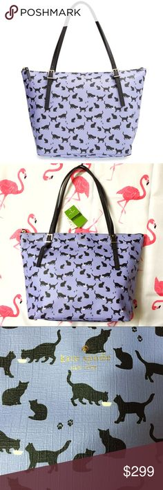 """kate spade Emma Lane Maya Astor Cat Tote Bag Brand new with tags. This Kate Spade Emma Lane Maya Astor Cat Lavender Purple Tote Bag is so cute and fun! Love the playful cats /kitty print all over! This is a discontinued print which is impossible to find! This purse has belted straps for a posh look in this generously sized tote. Crafted from richly textured faux leather with a top zip closure. Signature jacquard lining with 1 zipper pocket. Measures 16"""" W on top, 12"""" W bottom, 11.5"""" H x 6""""…"""