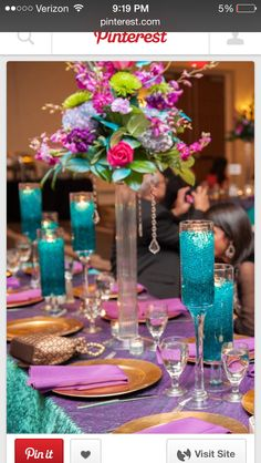 Gorgeous purple and teal wedding reception decor; Indian Wedding R Gorgeous purple and Peacock Wedding, Purple Wedding, Wedding Colors, Wedding Flowers, Leopard Wedding, Wedding Bouquets, Teal Wedding Decorations, Table Decorations, Indian Wedding Centerpieces