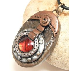 Fantasy Steampunk Jewelry Port Hole w/Red Gem by DesertRubble, polymer clay