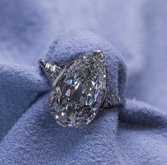 Stunning Platinum Art Deco Engagement Ring 5.07 Carat Pear Shape Diamond GIA #Engagement