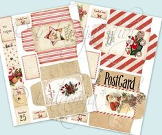 ****This is a Digital Download****Digital Collage Sheet 8 1/2 x 11 CHRISTMAS ENVELOPES A beautiful collection of Shabby Chic/Vintage style envelope images perfect for your scrapbook projects, handmade cards, arts and crafts. You will receive 4 envelopes and embellishments (each envelope will be approx: 2.5 x 4 when folded) The images will fit inside a 8 1/2 x11 sheet of cardstock, photo paper etc. As shown in second photo in a JPEG File ( this digital collage is for you to PRINT the images)…