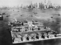 ELLIS ISLAND, Ellis Island, the immigration station in New York Harbor and the Manhattan skyline, American Pay, American History, Ellis Island Immigrants, New York Harbor, Nyc Skyline, Vintage New York, Old Photos, Statue Of Liberty, New York City