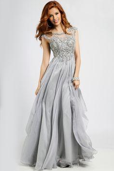 2015 Bateau Beaded Bodice A-Line Prom Dresses With Long Chiffon Skirt USD 159.99 EPPZ4N6XNN - ElleProm.com