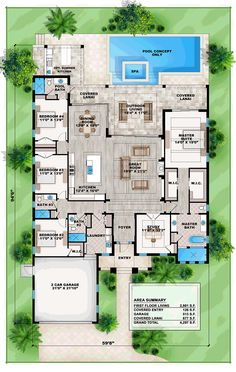 Coastal Florida Mediterranean Southern House Plan 75969 Level One