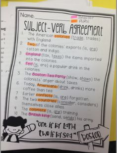 Life in Fifth Grade: Subject-Verb Agreement Freebie