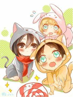 Armin Arlert | Mikasa Ackerman | Eren Yaeger | Attack on Titan | Shingeki no Kyojin | ♤ #anime ♤ Chibi