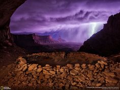 "Second Place: Thunderstorm at False Kiva ""I hiked out to these ruins at night hoping to photograph them with the Milky Way, but instead a thunderstorm rolled through, creating this dramatic image."" —Max Seigal"