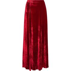 Alice + Olivia Athena crushed-velvet maxi skirt ($745) ❤ liked on Polyvore featuring skirts, red, alice olivia maxi skirt, zipper skirt, alice olivia skirt, going out skirts and red skirt